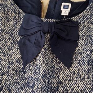 Janie and Jack navy tweed dress with navy bow
